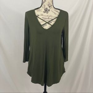 Emory Park Green Long Sleeve Top With Cross Chest